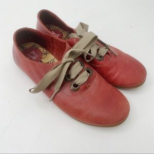 Fly London red flat lace up leather shoes